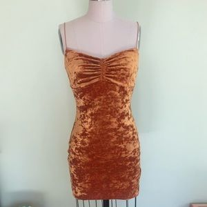 Urban Outfitters bodycon gold velvet dress
